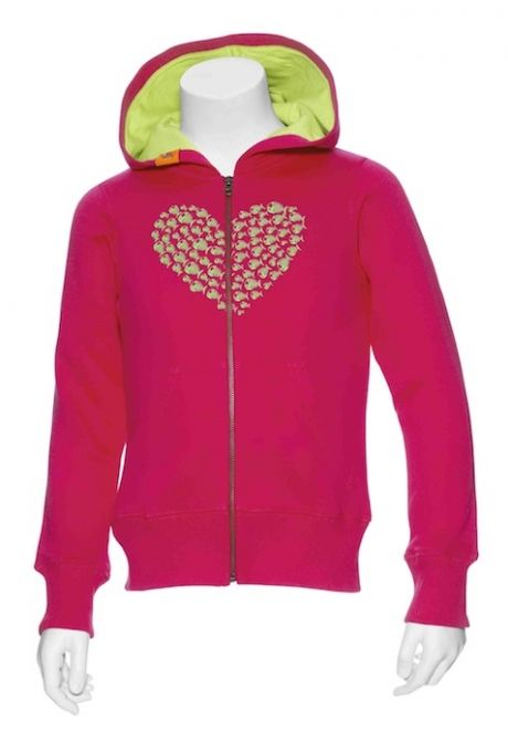 Angry Fish Heart Zip Hoodie Girls
